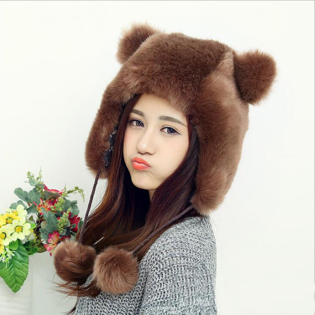 HT550 Hot Faux Fur Beanies Cap With Fur Balls For Women Cute Animal Ear Female Cap Winter Russian Ushanka Hat Earflap Caps Hats