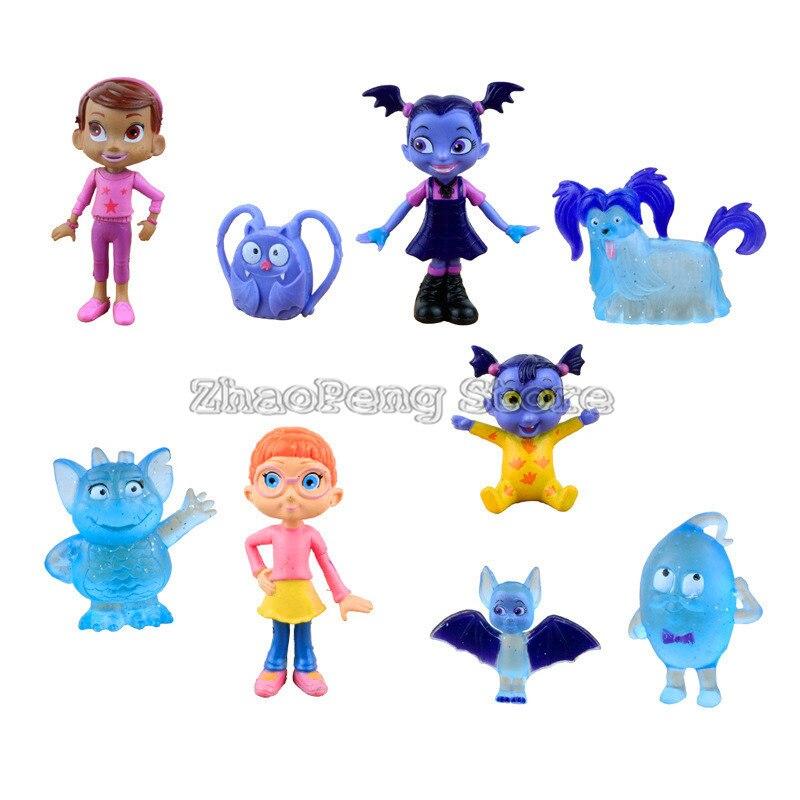 9pcs/lot Junior Vampirina The Vamp Bat woman Girl PVC Dolls Model Action Figures Kid Toy Collectors brinquedos Children Gift B80
