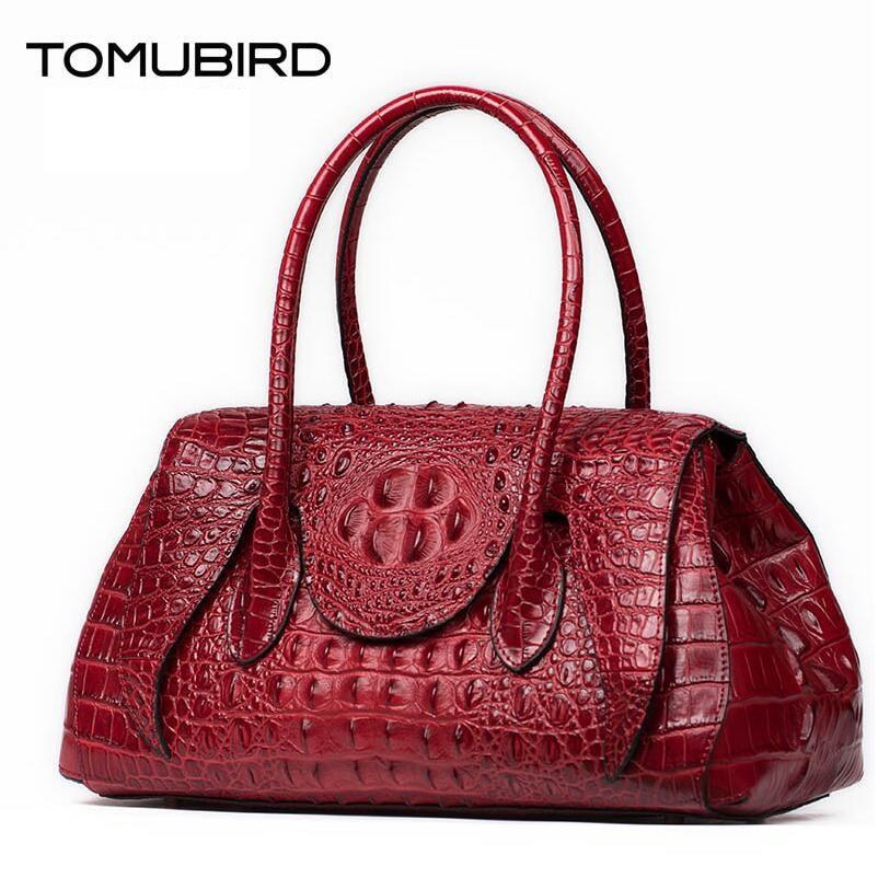 TOMUBIRD 2017 new quality cowhide material alligator grain famous brand women bag fashion genuine leather handbags shoulder bag