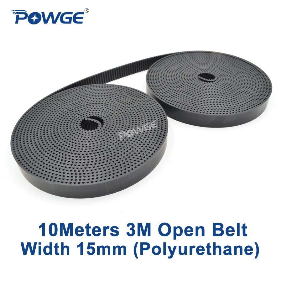 POWGE 10Meters PU Black HTD 3M open Synchronous belt 3M 15mm Width 15mm Polyurethane steel HTD3M