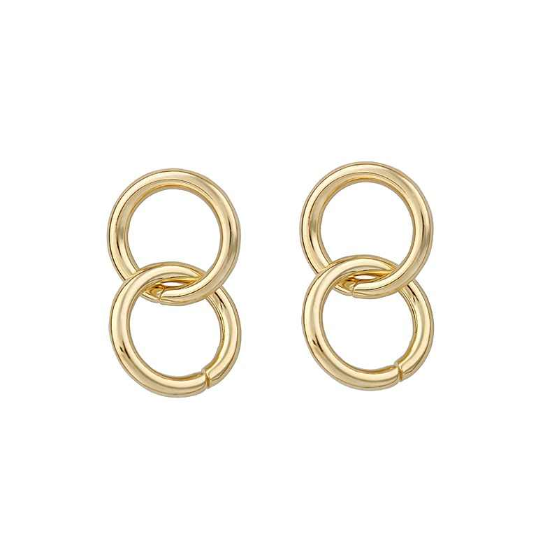 LWONG 2018 New Double Small Hoop Earrings for Women Gold Color Small Circle Earrings Boho Chic Simple Minimalist Earrings Hoops