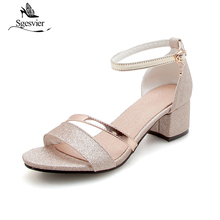 SGESVIER Thick Heel Sandals Women 2018 Summer Comfortable Med Heels Open Toe Fashion Shoes Woman Casual Size 31-50 B09