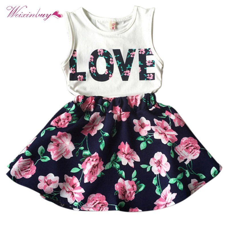 New 2PCS Toddler Kids Baby Girls Outfits T Shirt Tops + Floral Mini Skirt Clothes Set L07New 2PCS Toddler Kids Baby Girls Outfits T Shirt Tops + Floral Mini Skirt Clothes Set L07