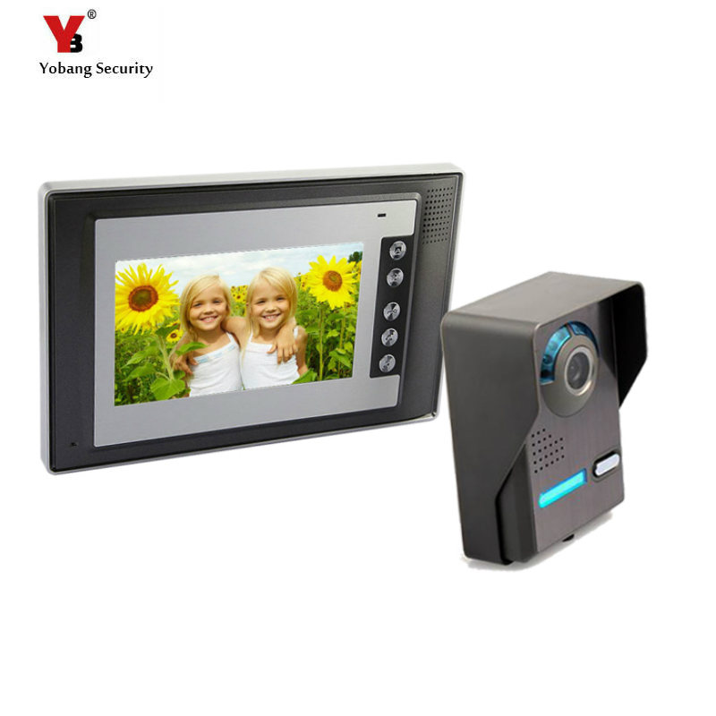 Yobang Security 7 Doorbell Camera Video Intercom with Monitor Home Wired Visual Intercom Entry Access System For House Villa yobang security free ship 7 video doorbell camera video intercom system rainproof video door camera home security tft monitor