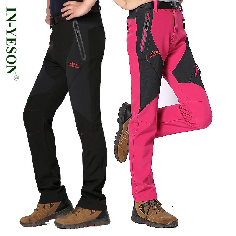 IN-YESON Men Women Hiking Pants Waterproof Windproof Winter Thermal Fleece Camping Outdoor Pants for couple Softshell Trousers