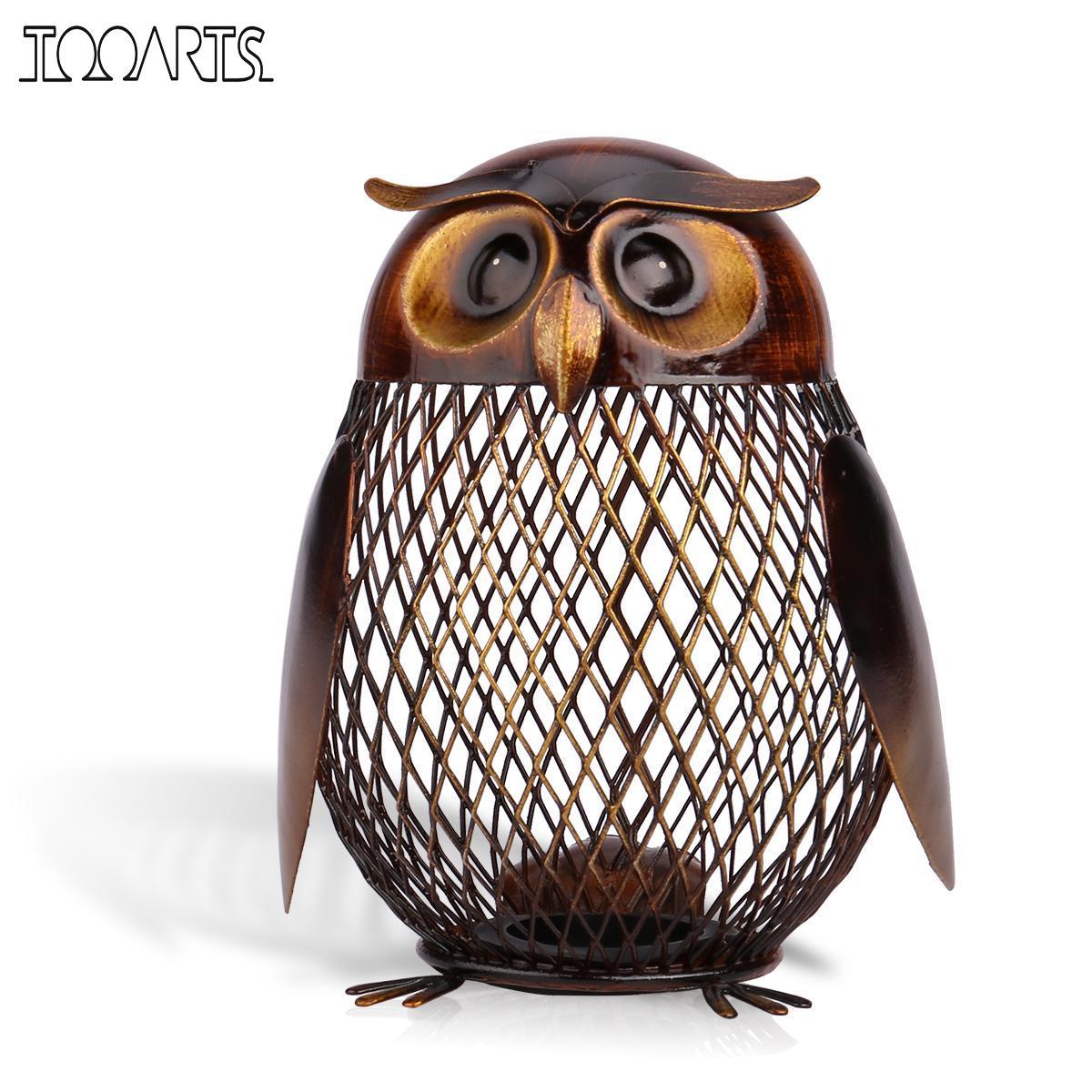 Tooarts Owl Shaped Figurine Piggy Bank Money Box Metal Figurine Coin Box Saving Box Home Decor Decoration Crafts Gift For Kids