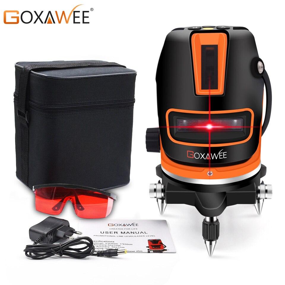 GOXAWEE 5 Linien 6 Punkte Laser Ebene Automatische Selbst Nivellierung 360 Horizontale Vertikale Linie Mit Tilt & Outdoor Bau Werkzeug
