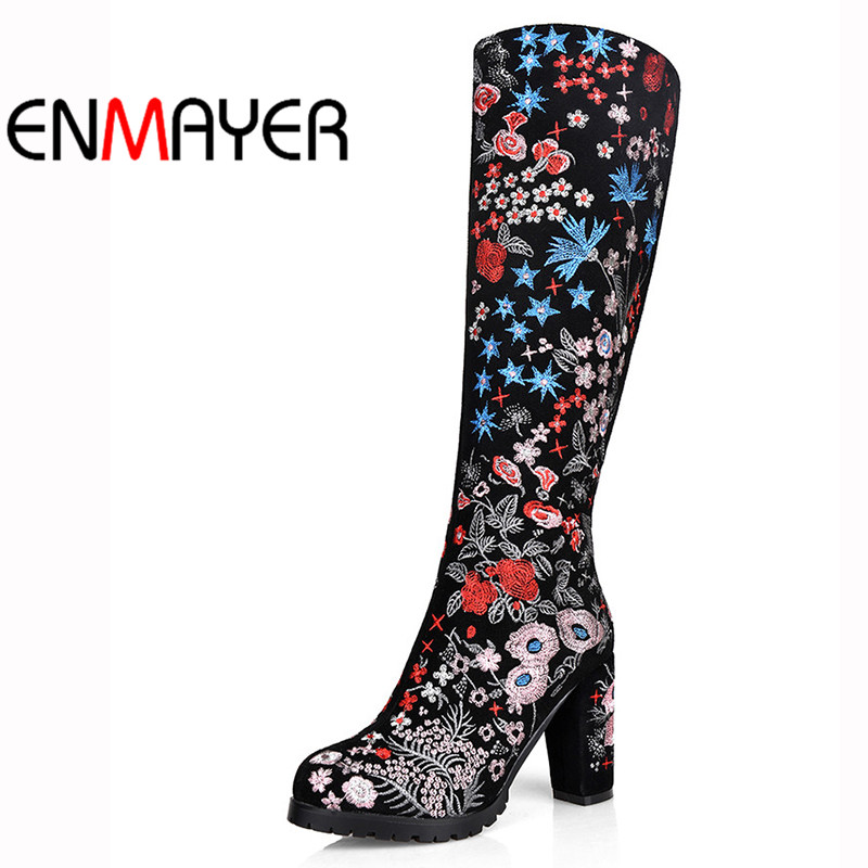ENMAYER Fashion Winter Women Boots Round Toe Zippers Knee-High Leather Boots Square Heel Long Boots High Heel Shoes Women люстра подвесная idlamp 805 6pf whitechrome
