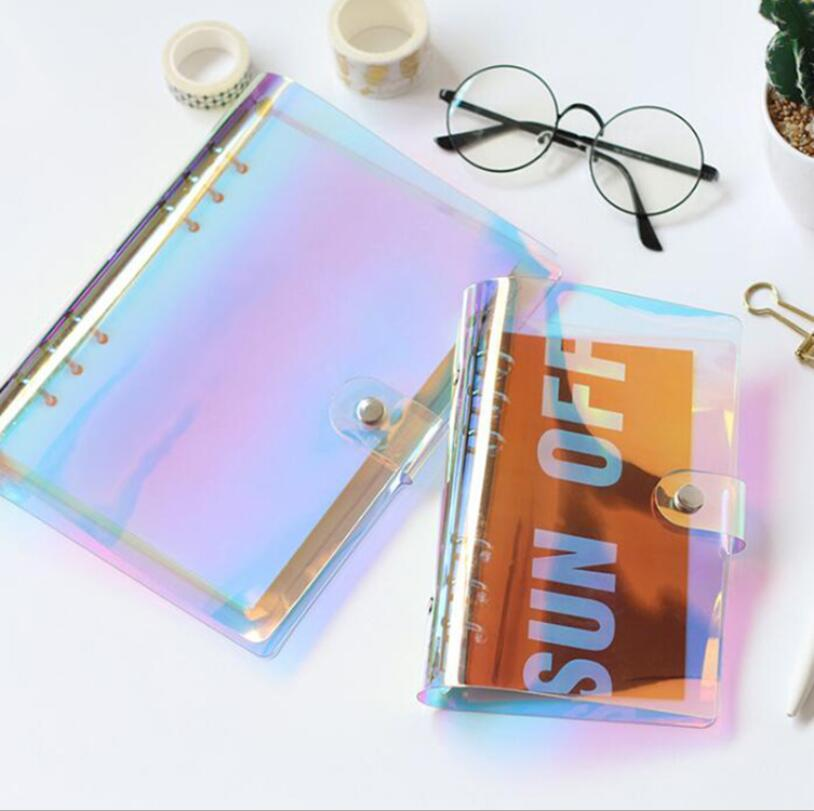 A5 A6 PVC Creative Laser Binder Loose Notebook Diary Memos Loose Leaf Note Book Notepad Weekly Planner Office School Supplies a5 a6 macaron spiral notebook with refill candy color loose leaf notepad planner diary girlfriend gift office school supplies