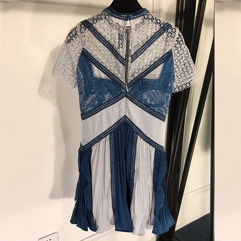 Luxe Mode Bleu As Pics Courtes Imprime Évider Et De Élégant Manches Marque Femmes Robe Avec Blanc 2019 qwtwHngA4