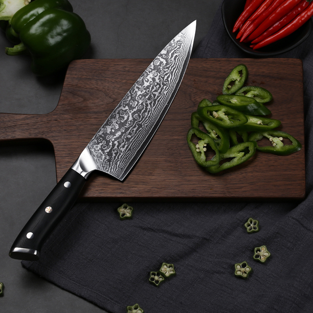 """TURWHO 8"""" Professional Chef Knife Gyuto Japanese Damascus Stainless Steel Kitchen Knife Very Sharp Cooking knives G10 Handle"""
