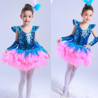 Blue Pink New kids ballroom dress dance costumes Girls Sequined jazz dance hip hop dancing dress For Child Stage Party Outfits