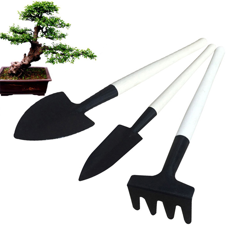 3 PCS Mini Metal Garden Handle Shovel Rake Set Weeding Tool Bonsai Flowers Pot Tool Set Metal Head Shovel Gardening Tools