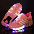 Eur28-37 nova moda patins crianças shoes meninos e meninas rosa vermelha azul de carregamento USB LED Luminoso Sapatilhas Com Um roda
