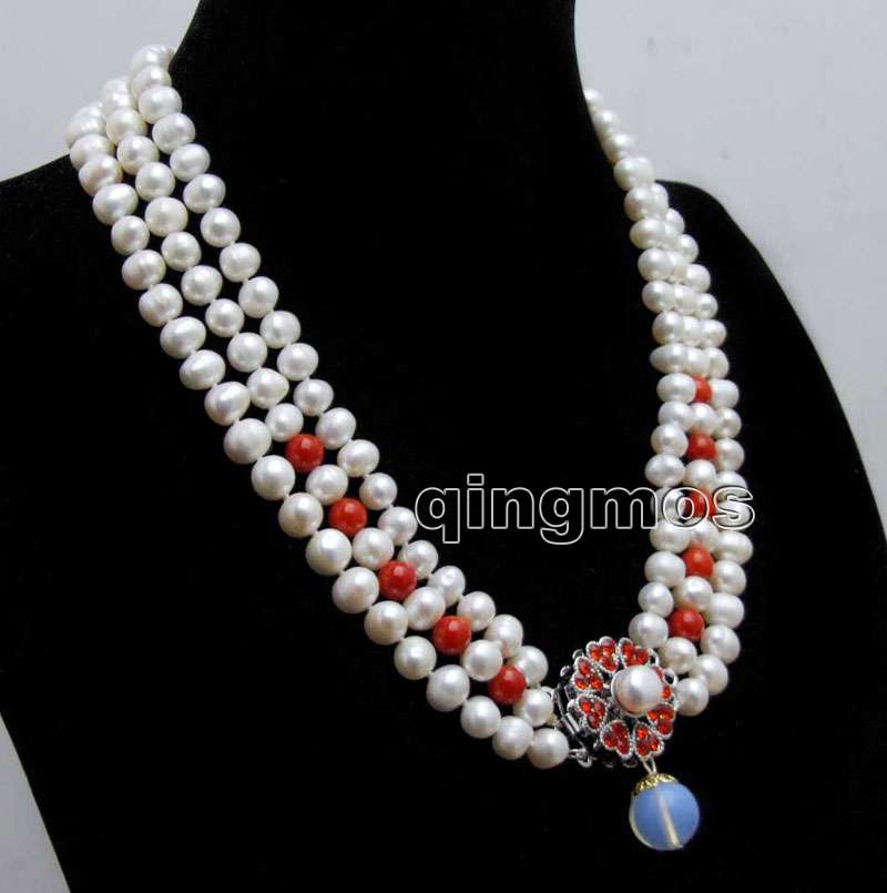 Big 8-9mm White Round Natural FW pearl and red coral 3 strands 18-19 necklace & Opal prndant-nec6422 wholesale/retail Free ship fw buds red