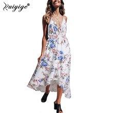 5077ca6f66c Ruiyige Bohemian Floral Frauen Sommer Kleid Festa V-ausschnitt Hohe Taille  Frauen Strand Maxi Lange Kleid Spaghetti Strap Party .