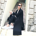 [CHICEVER] 2017 Autumn Pearls Split Loose Suit Collar Slim Open Stitch Long Section Black Trench Coat For Women New