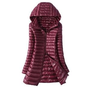 Image 2 - 2020 Autumn Jacket Women Duck Down Slim Long Parkas Ladies Warm Coat Hooded Plus Size 5XL 6XL Ultra Light Winter indoor Coats