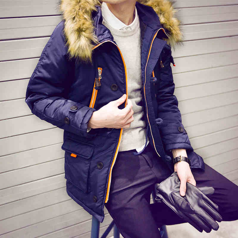 2016 winter coat and long sections Slim Korean men thick warm padded hooded young men s