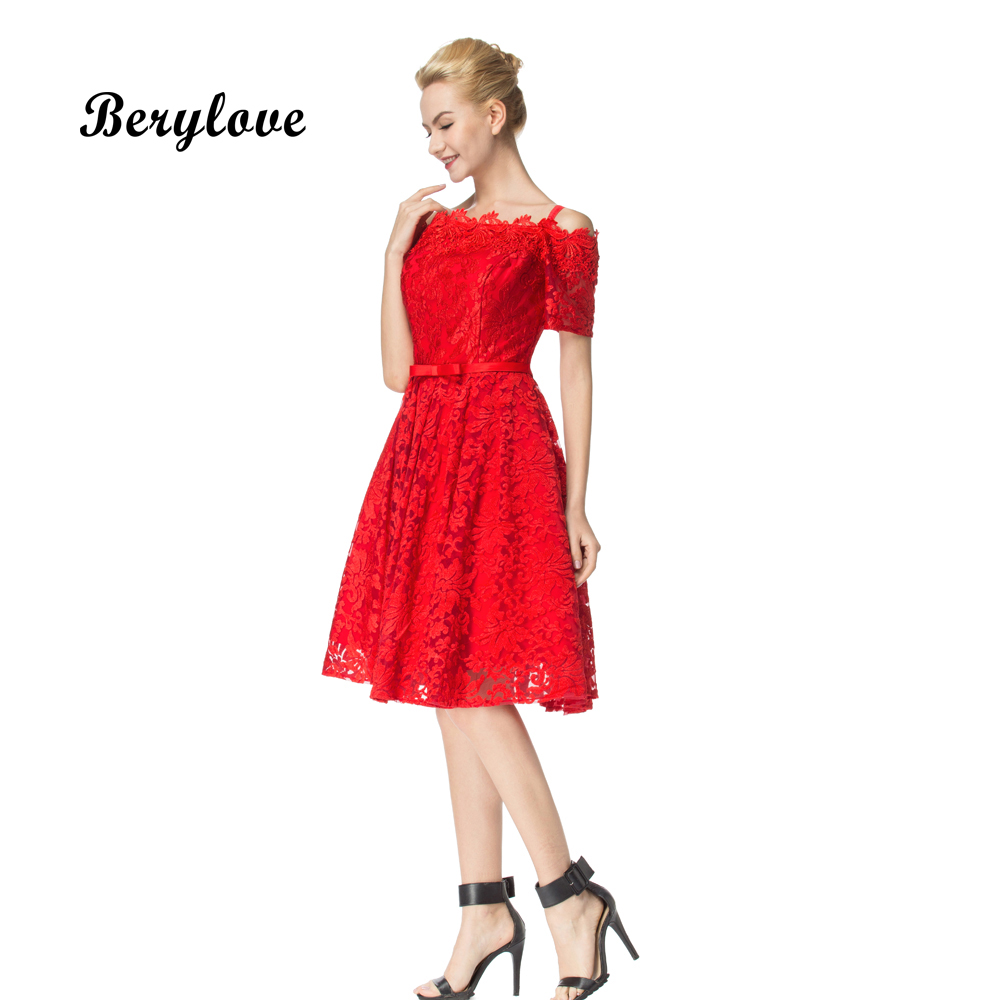 BeryLove Elegant Short Lace Prom Dresses 2018 Knee Length Off ...