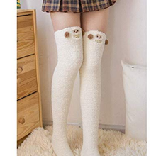c6fac9e8651 Cute Thigh High Long Striped Sheep panda Socks Coral Fleece Warm Soft Over Knee  High Socks