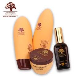 4 stücke Marokkanischen 450ml Natürliche Trockene Haar Shampoo + 450ml Conditioner Moisturzing Schäden + 300ml Haar Maske + 100ml