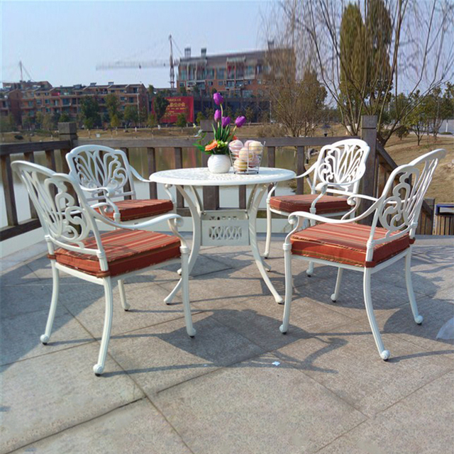 5 Piece Cast Aluminum Patio Furniture Garden Outdoor Durable And Used For Years