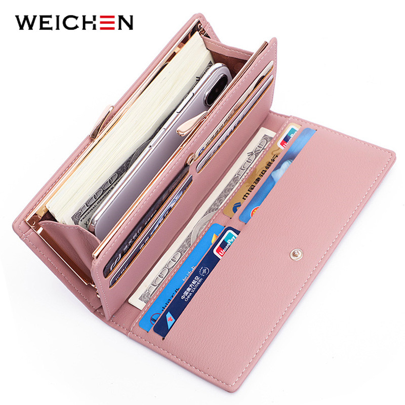 WEICHEN Fashion Women Long Clutch Wallets With Clip Cell Phone Pocket Card Holder Brand Designer Ladies Wallet Female Purse Clam