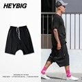 NEVOEIRO homens Calções Não Cortadas Sweatpants HEYBIG Caiu virilha joelho-comprimento com bolso com Zíper roupas Hiphop China Dimensionamento M-3XL