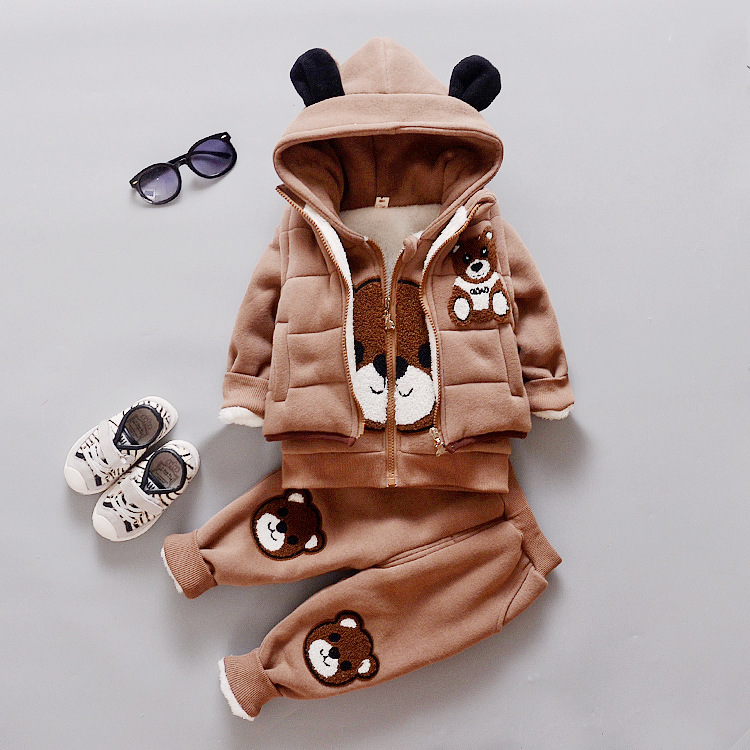 ФОТО 2016 thickness winter cotton cute bears three clothing sets small children hooded parkas suits