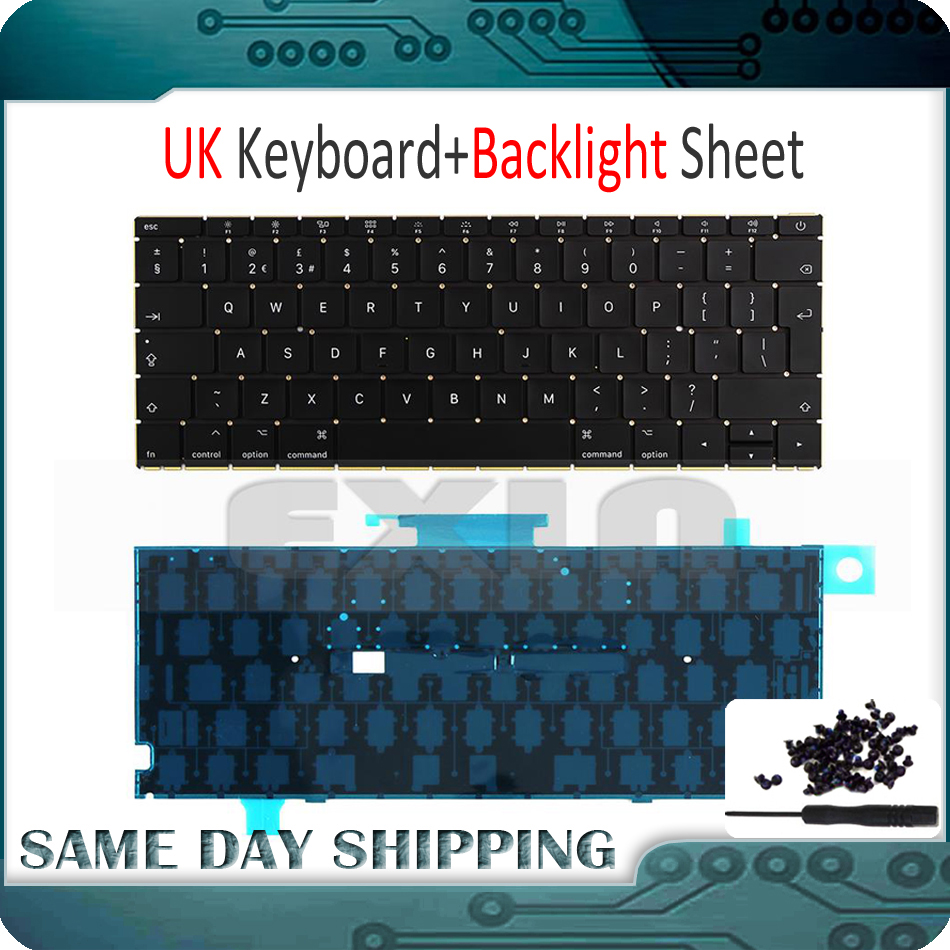 New Laptop A1534 UK Keyboard w Backlight Backlit Screws for Macbook 12 A1534 UK English Keyboard