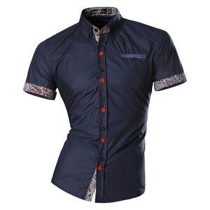 Image 5 - Jeansian hommes été mode lignes dornementation géométrique décontracté coupe ajustée à manches courtes mâle Simple couleurs chemise Z026