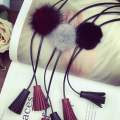 New Leather Cord Tassel Soft Fur Pom Pendant Necklace Jewelery Long Sweater Chain For Women Accessories Jewelry