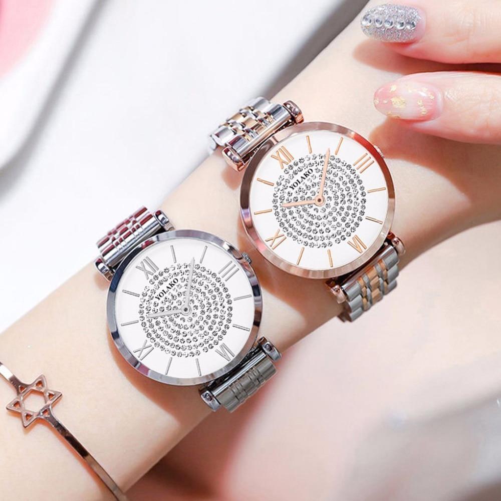 Women Dress Watch 2019 Top Brand Luxury Full Diamond Quartz Watch Women Rose Black Steel Belt Clock Waterproof Relogio Feminino in Women 39 s Watches from Watches