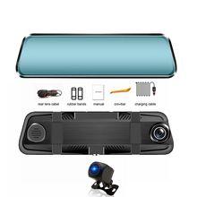hot deal buy hgdo stream rearview mirror dvr dash camera avtoregistrator 10 ips touch screen full hd dual 1080p lens car dvr dash cam