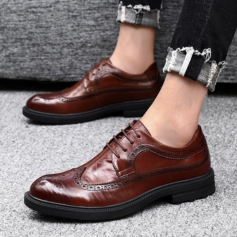 Cuero Genuino Formales Brogue Marrón Elegante Oficina Hombres Clásico Hombre Moda Negro Y Vestir Los Zapato Black 2019 brown Para De Boda Zapatos wBY44A