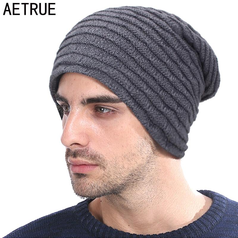 AETRUE Knitted Hat Men Women   Skullies     Beanies   Winter Hats For Men Fashion Male Warm Baggy Thick Bonnet Mask   Beanie   Hat Cap