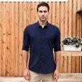 Camisa Hawaiana ocasional Masculina Camisa de Los Hombres Slim Fit Camisa de Manga Larga Estilo Británico de Algodón Liso Sólido Social