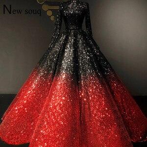 Image 1 - エレガントな黒と赤スパンコールロングスリーブウェディングドレス 2019 クチイスラム教徒ドバイ女性のイブニングドレス Vestido デ · フェスタ