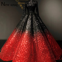Élégant noir et rouge pailleté manches longues robes De bal 2019 Couture formelle musulmane dubaï femmes robe De soirée robe De Festa