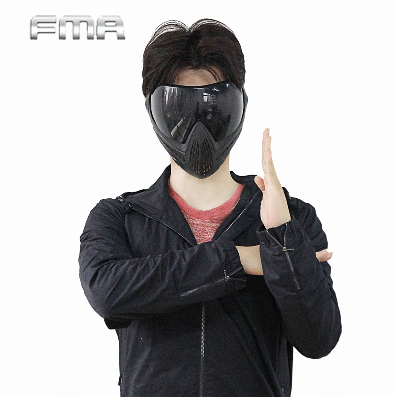 FMA Anti-fog Dustproof Protector Goggles Full Face Mask Outdoor Airsoft Safety F1 Paintball Goggles With Black Lens fma wire mesh iron man 2 airsoft fiberglass mask