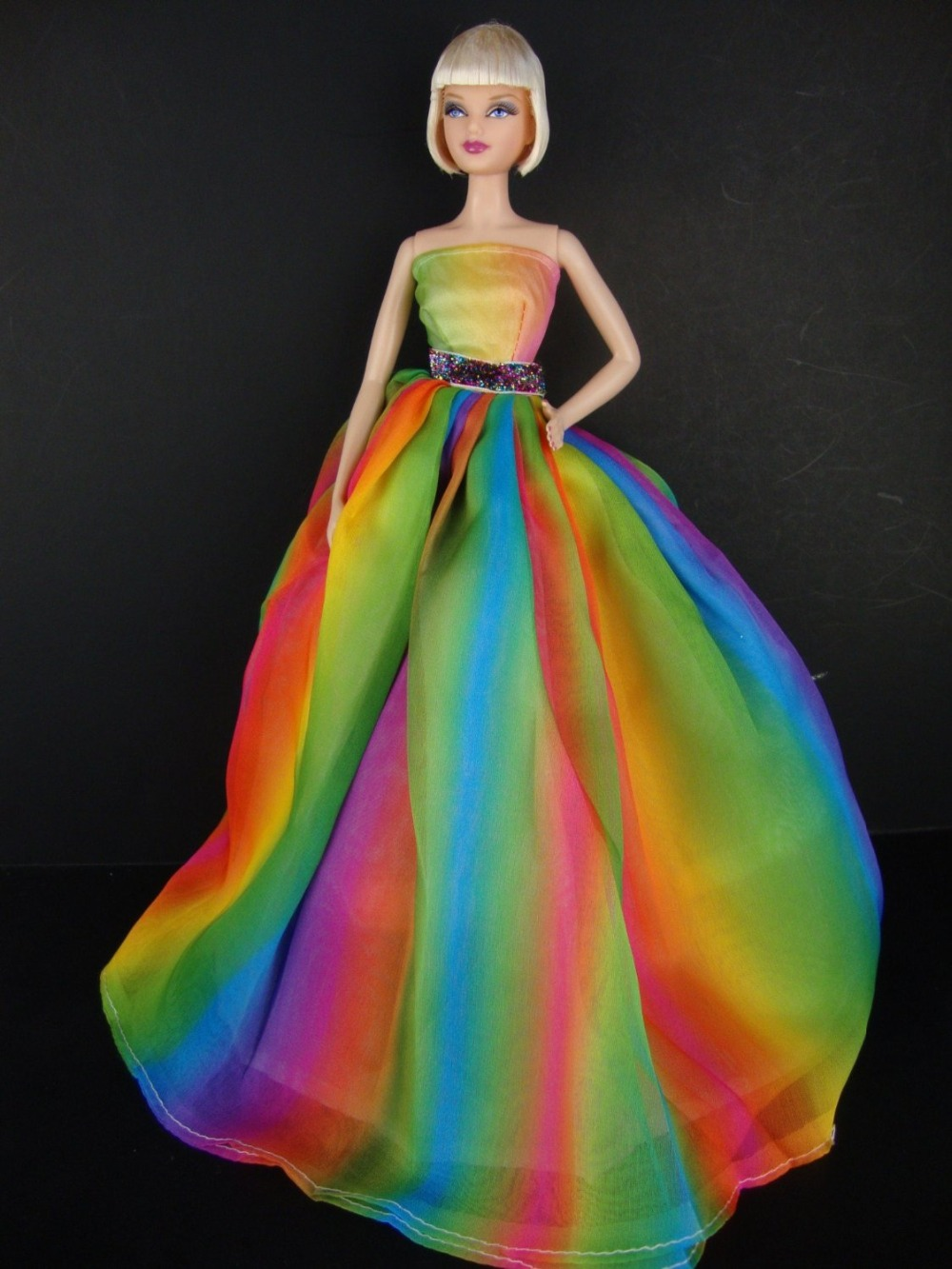 Stunning Rainbow Inspired Doll Sized Gown for Barbie