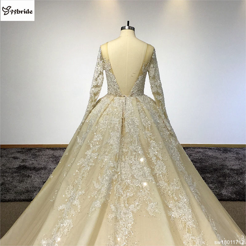sw18011712-10  Surmount Design Elegant Lace Wedding Dresses Scoop Neck Long Sleeves Vintage Wedding Gown Floor Length Royal Train Wedding Dress HTB1vLAOcjb