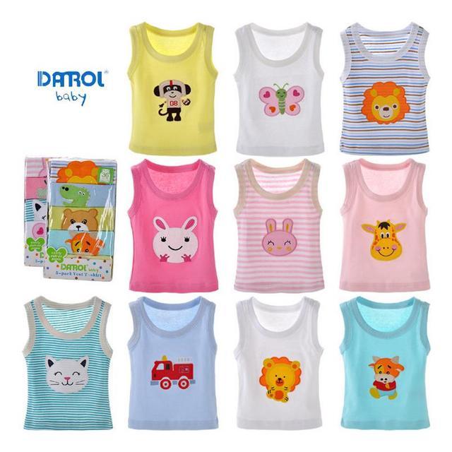 5 peças 6 m-24 m bebê danrol verão colete meninas meninos recém-nascidos de algodão bordado colete sem mangas t-shirt desenhos animados v20