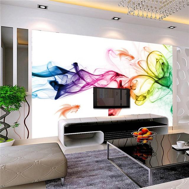 Custom foto behang moderne 3d muur mural behang kleur rook Fog Art ...