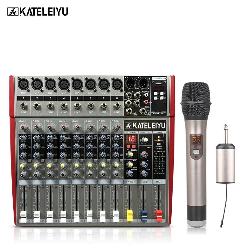DJ Mixer W6000T8 Professional Mixer Audio Amplifier Sound Processor 8 Channels (16 Effects + USB Playback)