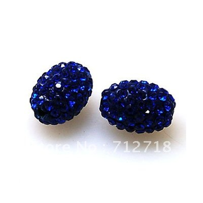 Bead,polyclay And Crystal,9*13mm Oval Pave Beads,blue Color,sold 20 Pcs Per Package Beads Jewelry & Accessories