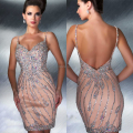 2014 New Design Sexy de cristal frisada curto espartilho Backless lindo vestidos de baile