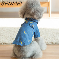 BENMEI Autumn Style Cotton Denim Coat Teddy Pet Dog Clothes Clothing Cute Printing Banana Pattern Jean