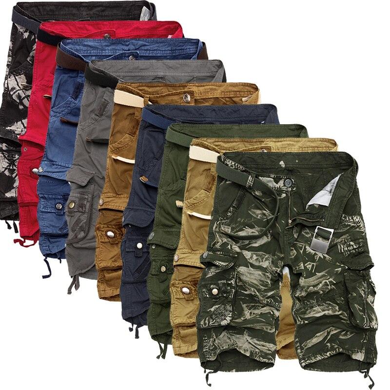 Шорты-карго Для мужчин прохладный камуфляж Летний Лидер продаж хлопок Повседневное Для мужчин короткие штаны брендовая одежда удобный камуфляж Для мужчин шорты-Карго
